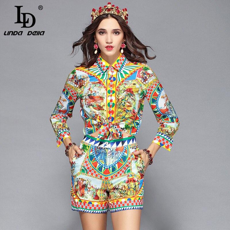 LD LINDA DELLA Runway diseñador Casual vacaciones pantalones cortos conjunto de mujeres de manga larga estampado blusas + Pantalones cortos conjunto de dos piezas