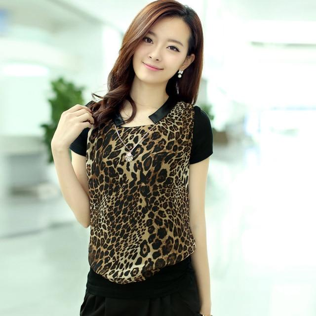 2014 spring new fashion elegant women's pots leopard short/long sleeve chiffon t shirt big size 0226101913/0226101313