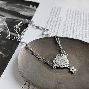 Image 3 - LouLeur prawdziwe 925 srebro serce krótki naszyjnik łańcuszkowy romantyczna gwiazda cyrkon naszyjnik na impreżę kobiety modne ładne biżuteria prezent