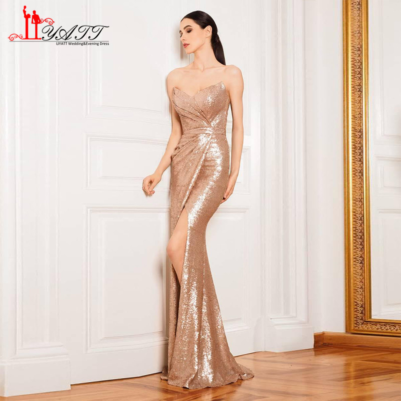 2017 Luxury Rose Gold Wine Red Long Sequin Evening Dress Sweetheart ...