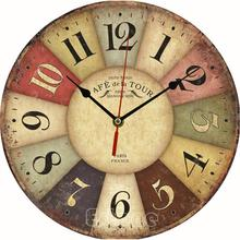 Large Vintage Rustic Wooden Wall Clock Kitchen Antique Shabby Chic Retro for Home