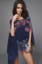 Blouses & Shirts New Nice Chiffon Blusas Bat  Sleeve Women Blouses Flowing Chiffon Blouse Printing Blusa Feminina H22114