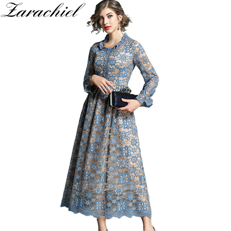 cb9faf922a8f Flower Embroidery Hollow Out Lace Maxi Dress Women Long Sleeve O Neck Tunic  Casual Long Dress Blue Gown Water Soluble Lace Dress