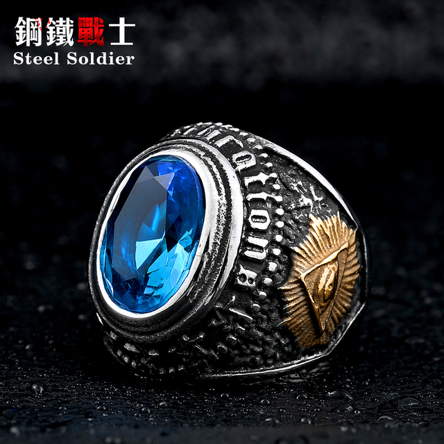 Steel soldier men black stone ring stainless steel high quality factory price me