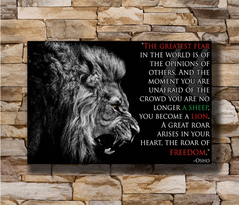 Wall-Poster Print-Decoration Canvas Motivational Lion Osho Art 20x30 8x12 N0179 24x36