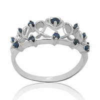 Qi Xuan_Dark Blue Stone Elegant And Generous Crowne Ring_S925 Solid Silver Fashion Dark Blue Rings_Manufacturer Directly Sales