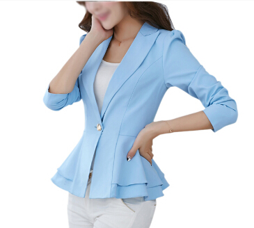 Hot Jacket Blazer Women Suit Foldable Long Sleeves Lapel Coat Candy Color Blazer Single Button  Blazers Jackets