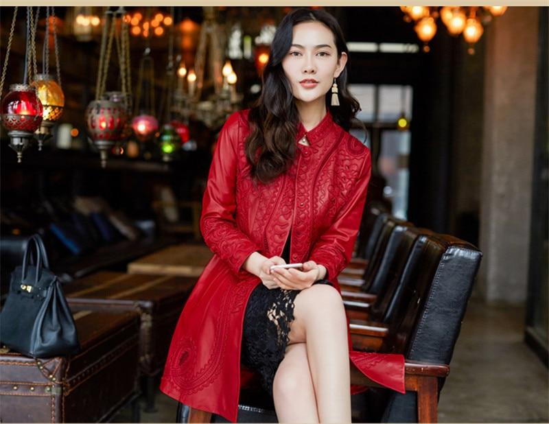 Rouge Jaqueta Vestes Réel Nouveau En 2018 Wxf269 De Mouton Mode Femmes Peau Veste Cuir Manteau Ayunsue Red Véritable Femme Broderie Couro BvqTw