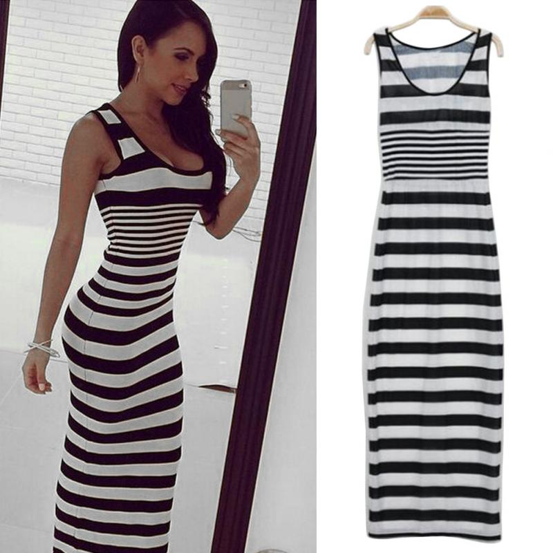 Black And White Striped Dress Women