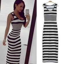 Negro y blanco horizontal rayas vestido largo del chaleco atractivo del  verano de las mujeres señoras del vestido uno-pedazos Ve. 7890d1d5529a