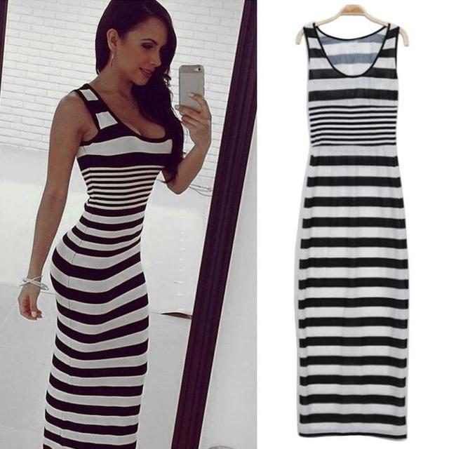 lange jurk zwart wit