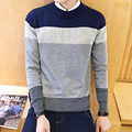 2016 New Arrival Spring Autumn Fashion Men's Casual Slim Fit O-neck Pullover Striped Patchwork Long Sleeve Sweater Gray/Red/Navy