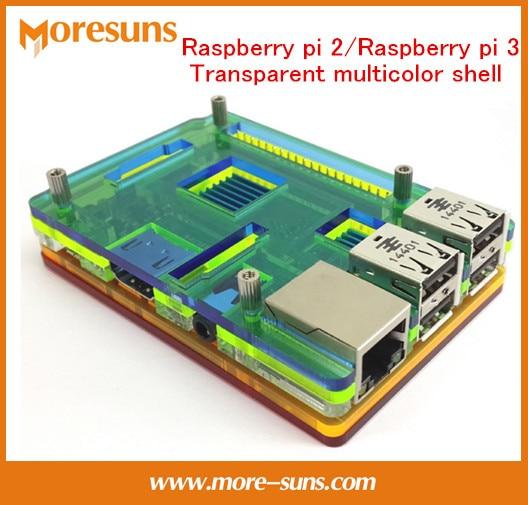 5pcs For Raspberry Pi 2/Raspberry Pi 3 Transparent Multicolor Shell 92mm*62mm*15.5mm Acrylic Housing/for RPI Box Shell