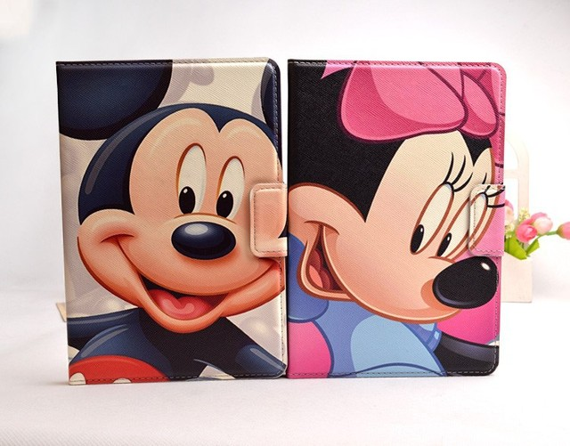 2015 Cartoon 3D Mickey Minnie Mouse Captain America Duck Flip Leather Smart Case For Ipad Mini Retina cover for Ipad mini2 mini3