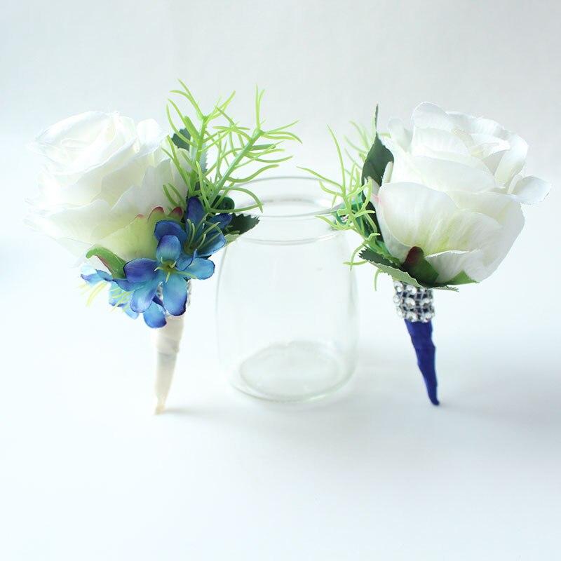wedding boutonniere white blue groom suit decor (22)