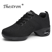 цена на Woman Dance Sneakers Black White Ladies Modern Dance Shoes Spring Autumn Ballroom Dancing Shoes Breathable Practice Sneakers