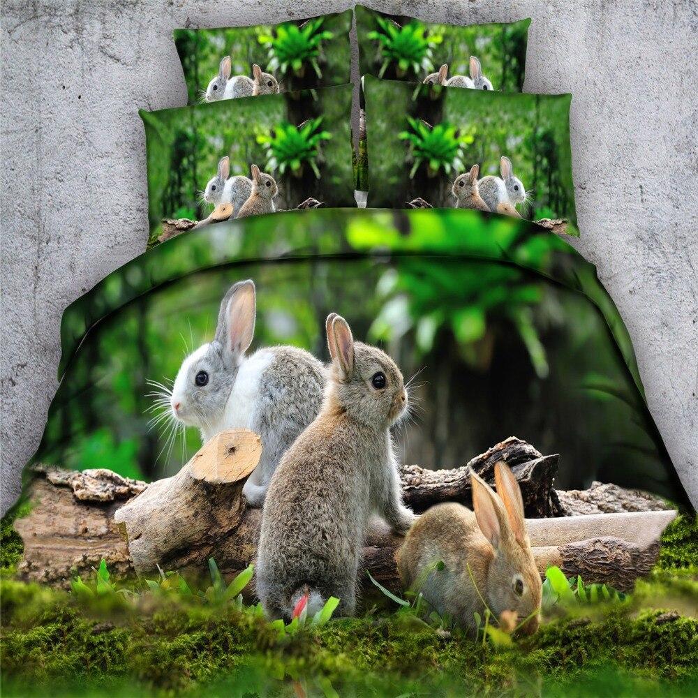Rabbit Hare 3d Bedding Set Queen Size Girl Green Forest