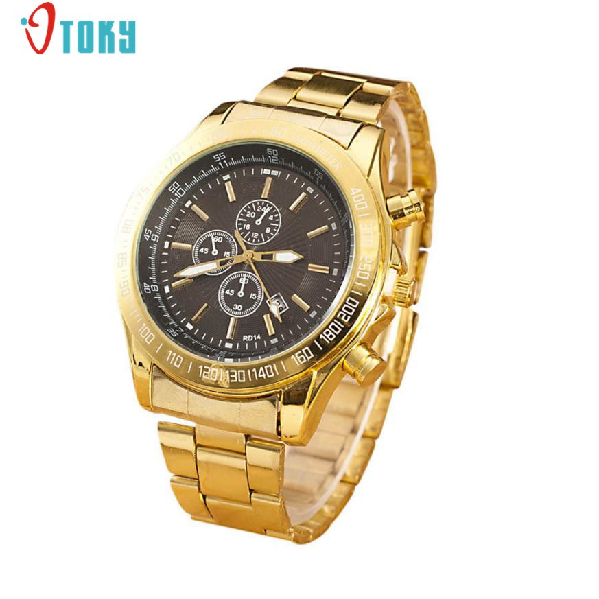 Fashion Luxury Men Watches Gold Stainless Steel Band Clocks Analog Quartz Movement Wrist Watch Creative May05 2016 new fashion watches men motion form mens watches stainless steel band sport quartz hour wrist analog watch birthday gifts