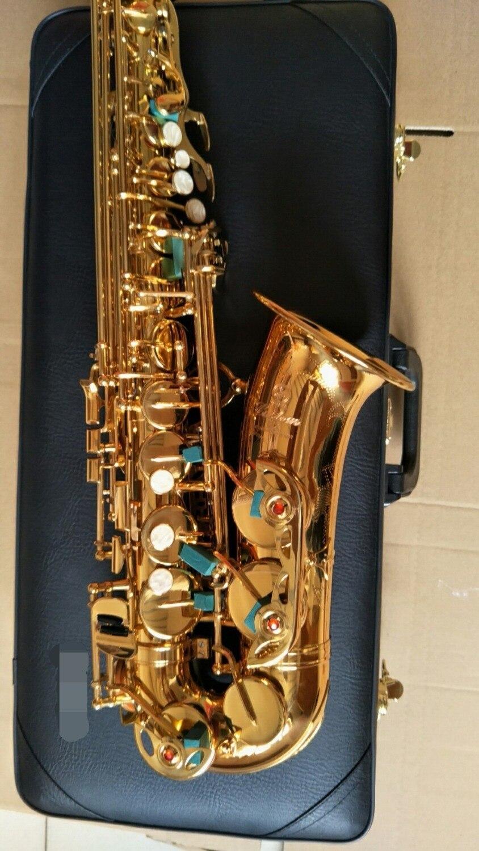 Золотой лак Alto саксофоны YAS-875EX бемоль Sax латунь инструменты с Оригинальный чехол Прихватки для мангала, мундштук, reed