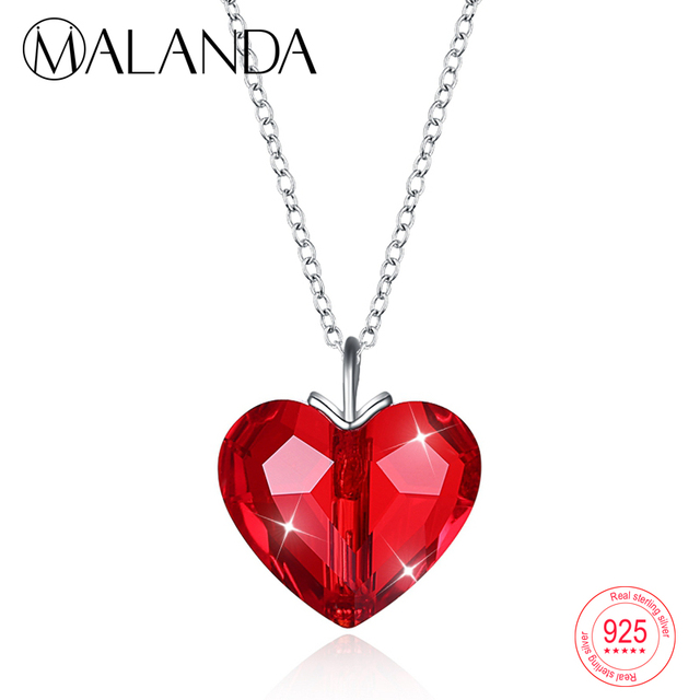 6cb2b23d76b5b US $11.33 30% OFF|MALANDA New Crystal From Swarovski Red Heart Pendant  Necklace For Women Fashion 925 Sterling Silver Necklaces Fashion Jewelry-in  ...