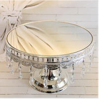 Free shipping Silver Plated Senior Crystal Mirror Cake Plate Crystal Cake Stand wedding cake stand cake decorating DGP012