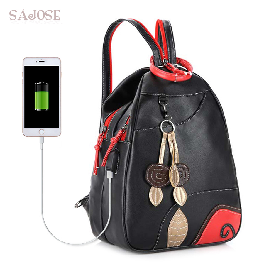 SAJOSE NEW Fashion Leaves Student Style Women s Shoulder Bag Multifunction USB Girls Leather Backpack School