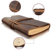 "7"" x""5 Genuine leather travel journal notebook sketchbook Leather cover leather notebook with 100 sheets 200 pages"