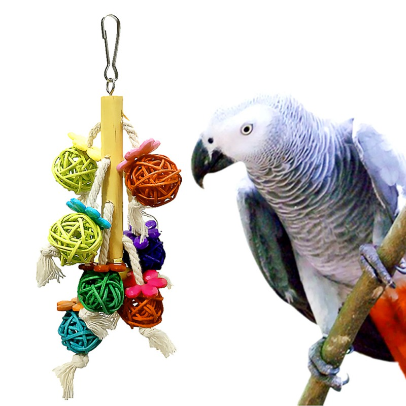 Funny Pet Parrot Toys Rattan Birds Swing Ball Toy With Bells String Christmas Hanging Climbing Decorations For Cage