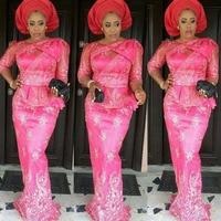 Nigerianos fúcsia Vestidos de Noite Longos Nigeriano Vestido Maxi Top Popular Minério-Iyawo Estilos Plus Size Africano Aso-ebi Vestido de noite