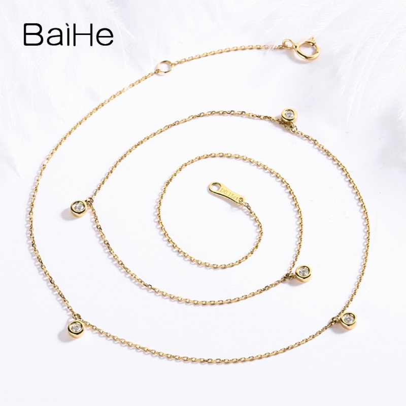 BAIHE Solid 18K Yellow Gold Certified H/SI 0.15ct Round Cut Natural Diamonds Women Fine Diamond Jewelry Trendy Wedding Necklaces