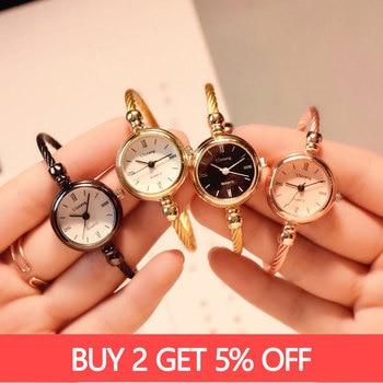 Small Gold Bangle Bracelet Luxury Watches Stainless Steel Retro Ladies Quartz Wristwatches Fashion Casual Women Dress Watch 2