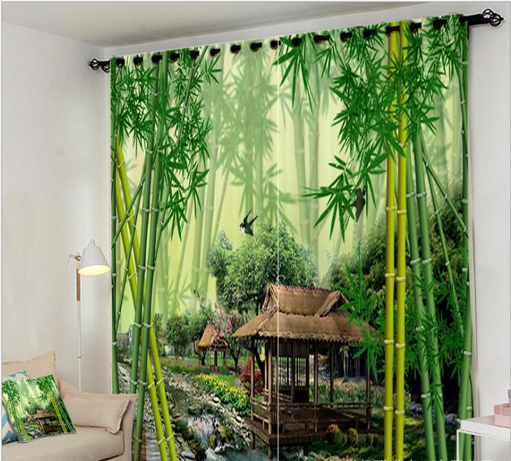 Customized size Luxury Blackout 3D Window Curtains For Living Room Green bamboo Curtain office Bedroom
