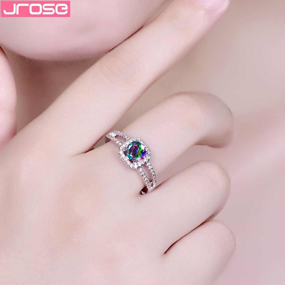 JROSE ขายส่งรอบ Rainbow สีขาว Red Cubic Zircon แหวนเงินผู้หญิงของขวัญเครื่องประดับขนาด 6 7 8 9 10 11 12