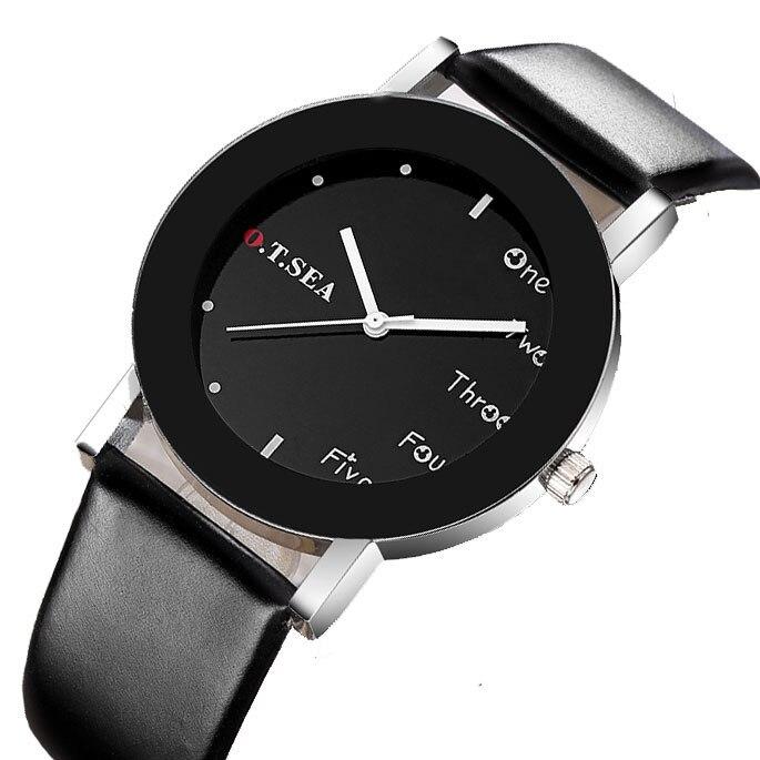 Hot Sales O.T.SEA Brand Fashion Black&White Leather Watch Women Men Military Dress Quartz Wrist Watches W123
