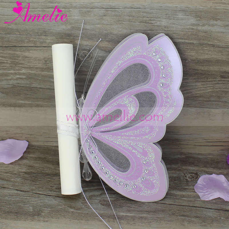 2019 Handmade Unique Wedding Card Invitation Diy Erfly Stock Scroll Inner Paper Invitations Gifts 50pcs Lot