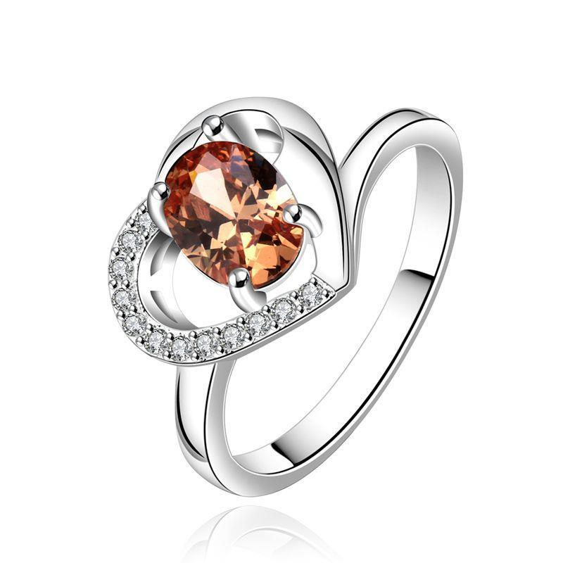 925 Sterling Silver Ring Heart Ring Finger Ring size 7 8 Classic Female Sparkling Crystal CZ