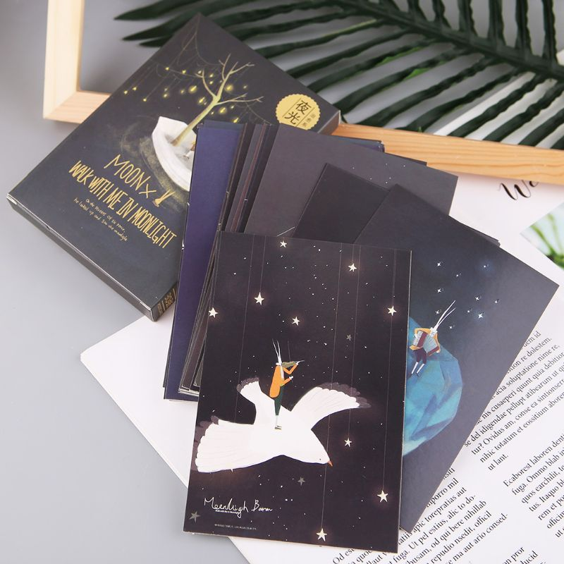 30pcs Vintage Luminous Postcard Glow In The Dark Moon Light Greeting Post Card Novelty New Year Xmas Greeting Cards Gift C26