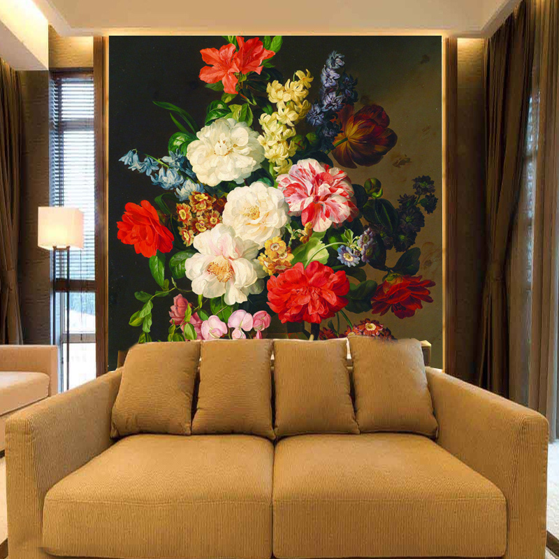 Custom Photo Wallpaper Western European Painting Style Floral Wall Paper Entrance Hallway Mural In Wallpapers From Home Improvement On