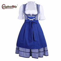 German Beer Festival Costume Women Dirndl Maid Dress Oktoberfest Cosplay Fancy Dress Apron Blouse Gown Lattice Lolita Skirt J15