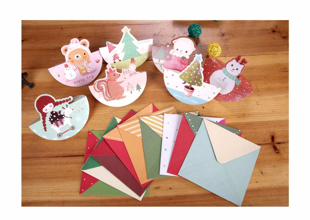 Hot Sale Ynaayu 10pcs/lot Merry Christmas Small Greeting Cards Kids ...