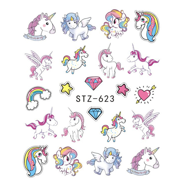 1pcs Nail Sticker Water Transfer Decals Unicorn Mermaid Cartoon Watermark Slider Gel Nail Art Decoration Manicure JISTZ616-638