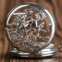 China Ancient Animal Kirin Exquisite Mechanical Pocket Watch Stylish Vintage Steampunk Silver Hand Winding Pendant Fob