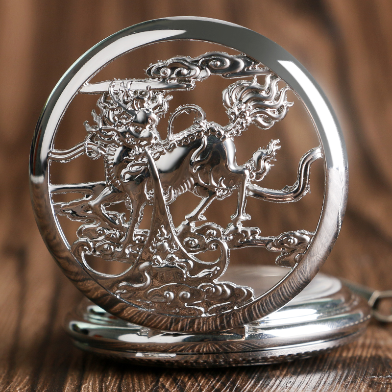China Ancient Animal Kirin Exquisite Mechanical Pocket Watch Stylish Vintage Steampunk Silver Hand-winding Pendant Fob Chain цена