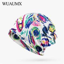 Wuaumx NEW Spring Autumn Hats For Women Multicolor Print Thin Turban Hip Hop Beanies Cap Ladies Ring Scarf Bonnet femme