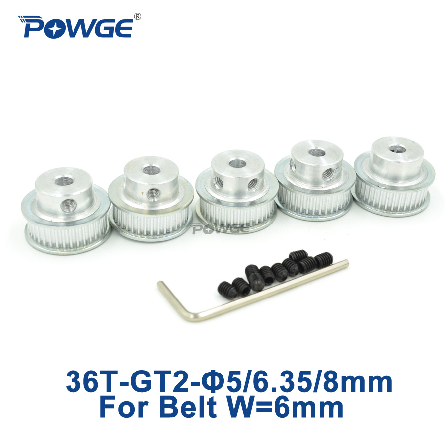 POWGE 5pcs 36 teeth 2M 2GT Timing Pulley Bore 5mm 6.35mm 8mm for 2MGT <font><b>GT2</b></font> belt width 6mm Positioning Accuracy pulley 36Teeth <font><b>36T</b></font> image