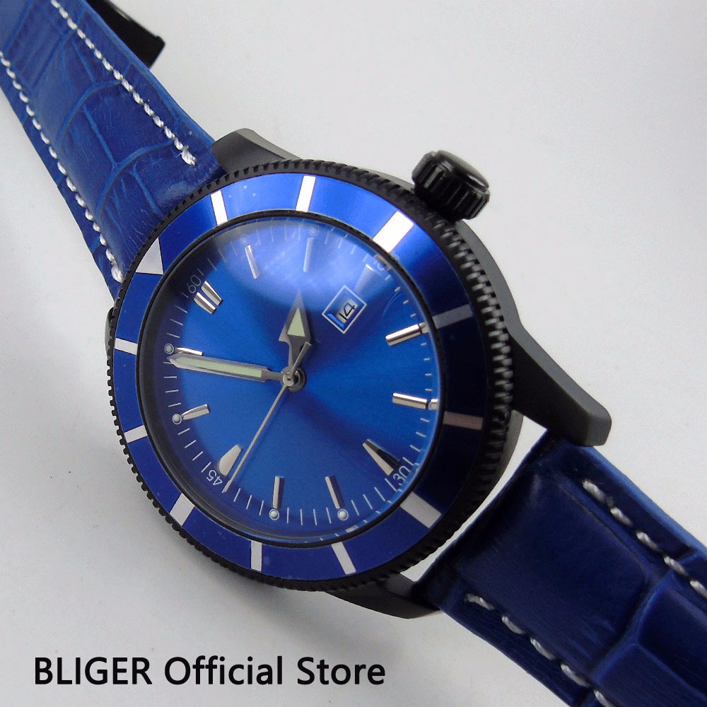 46mm BLIGER Sterile Blue Dial Automatic Mens Watch Leather Strap PVD Case Luminous Wristwatch 46mm BLIGER Sterile Blue Dial Automatic Mens Watch Leather Strap PVD Case Luminous Wristwatch