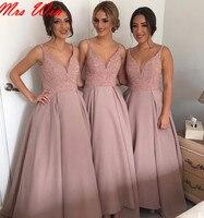 Розовый Линии Невесты Платья Длинные Танк Ремни V Шеи Полностью Бисера Лиф Женщины Формальные Невесты Одежды На Заказ