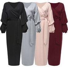 Buytiz UAE Crepe Mesh Muslim Brown Abaya Maxi Vestidos Dress Long Kimono Ramadan Arabic Caftan Women Islamic Clothing Robe Gowns
