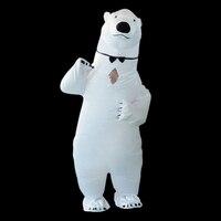 Надувные Polar bear костюм Маскоты костюмы для взрослых мужчин Polar Bear Хэллоуин Карнавал вечерние Косплей