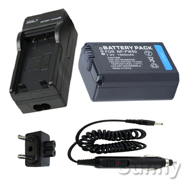 Battery + Charger for <font><b>Sony</b></font> <font><b>Alpha</b></font> ILCE-<font><b>3000</b></font>, ILCE-3000K, ILCE-5000, ILCE-5000L, ILCE-5100, ILCE-5100L Mirrorless Digital Camera image